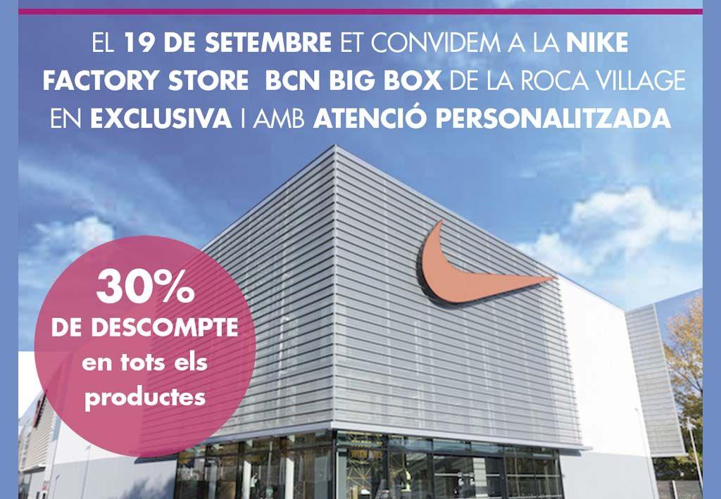 Vicio agudo Experto  30% de descompte a la Nike Factory per ser soci de l'Espai - Espai Wellness